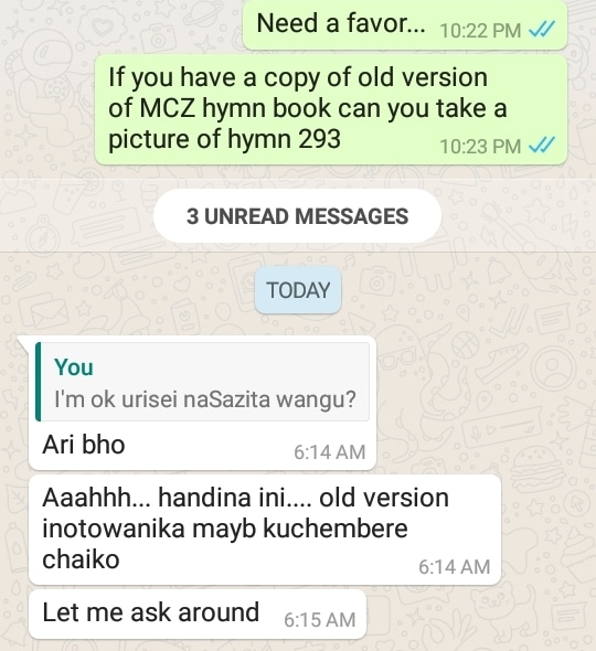 WhatsApp message asking for hymn 293